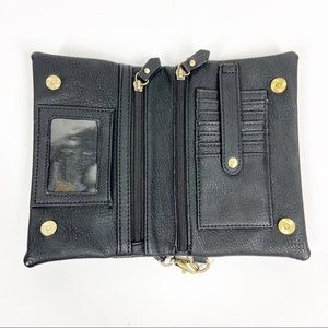 JOY Black Faux Leather Clutch/Wristlet